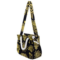 Maya Style Gold Linear Totem Icons Rope Handles Shoulder Strap Bag by Vaneshart
