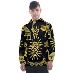 Maya Style Gold Linear Totem Icons Men s Front Pocket Pullover Windbreaker by Vaneshart