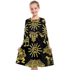 Maya Style Gold Linear Totem Icons Kids  Midi Sailor Dress
