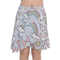 Seamless Pattern With Cute Rabbit Character Chiffon Wrap Front Skirt
