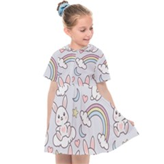 Seamless Pattern With Cute Rabbit Character Kids  Sailor Dress by Vaneshart