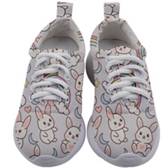 Seamless Pattern With Cute Rabbit Character Kids Athletic Shoes by Vaneshart