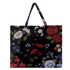 Floral Folk Fashion Ornamental Embroidery Pattern Zipper Large Tote Bag