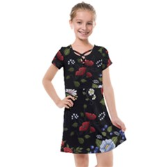 Floral Folk Fashion Ornamental Embroidery Pattern Kids  Cross Web Dress