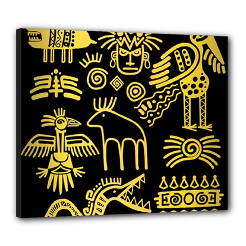 Golden Indian Traditional Signs Symbols Canvas 24  X 20  (stretched)