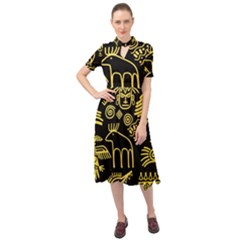 Golden Indian Traditional Signs Symbols Keyhole Neckline Chiffon Dress