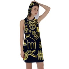 Golden Indian Traditional Signs Symbols Racer Back Hoodie Dress