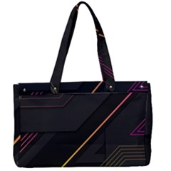 Gradient Geometric Shapes Dark Background Canvas Work Bag