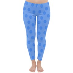 Dots With Points Light Blue Classic Winter Leggings by AinigArt