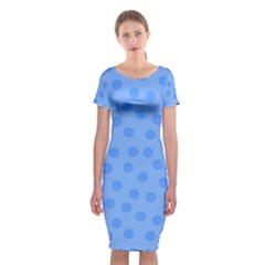 Dots With Points Light Blue Classic Short Sleeve Midi Dress