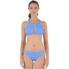Dots With Points Light Blue Perfectly Cut Out Bikini Set by AinigArt