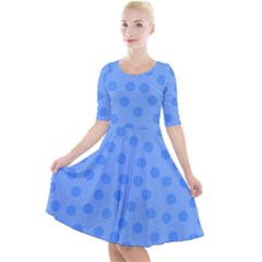 Dots With Points Light Blue Quarter Sleeve A-line Dress