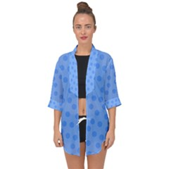 Dots With Points Light Blue Open Front Chiffon Kimono