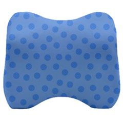 Dots With Points Light Blue Velour Head Support Cushion by AinigArt