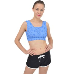 Dots With Points Light Blue V-back Sports Bra by AinigArt