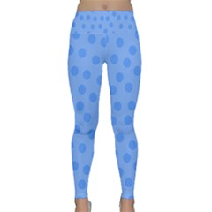 Dots With Points Light Blue Lightweight Velour Classic Yoga Leggings by AinigArt