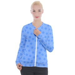 Dots With Points Light Blue Casual Zip Up Jacket by AinigArt