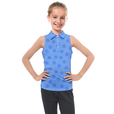 Dots With Points Light Blue Kids  Sleeveless Polo Tee by AinigArt