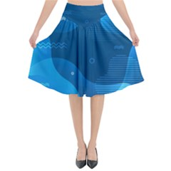 Abstract Classic Blue Background Flared Midi Skirt