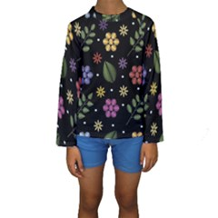 Embroidery Seamless Pattern With Flowers Kids  Long Sleeve Swimwear by Vaneshart