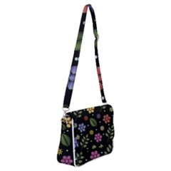 Embroidery Seamless Pattern With Flowers Shoulder Bag With Back Zipper