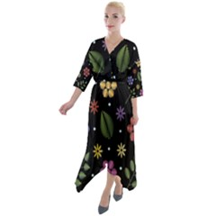 Embroidery Seamless Pattern With Flowers Quarter Sleeve Wrap Front Maxi Dress by Vaneshart
