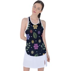 Embroidery Seamless Pattern With Flowers Racer Back Mesh Tank Top