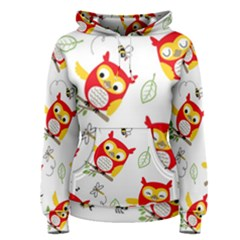 Seamless Pattern Vector Owl Cartoon With Bugs Women s Pullover Hoodie