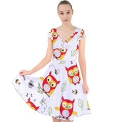 Seamless Pattern Vector Owl Cartoon With Bugs Cap Sleeve Front Wrap Midi Dress