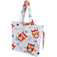 Seamless Pattern Vector Owl Cartoon With Bugs Drawstring Tote Bag