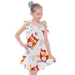 Seamless Pattern Vector Owl Cartoon With Bugs Kids  Tie Up Tunic Dress
