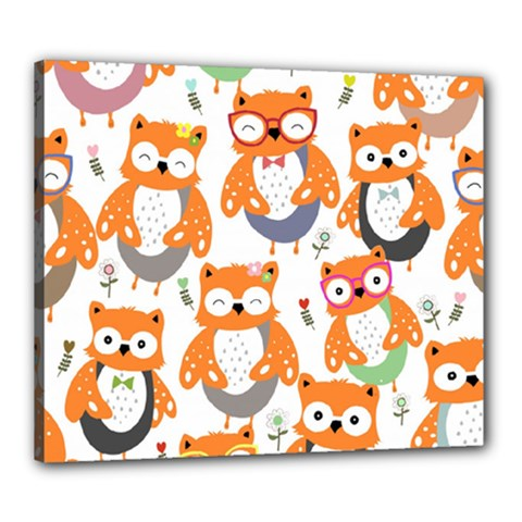 Cute Colorful Owl Cartoon Seamless Pattern Canvas 24  X 20  (stretched)