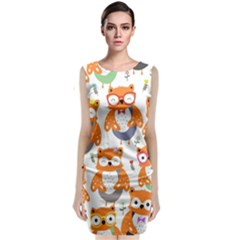 Cute Colorful Owl Cartoon Seamless Pattern Classic Sleeveless Midi Dress