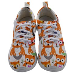Cute Colorful Owl Cartoon Seamless Pattern Mens Athletic Shoes by Vaneshart