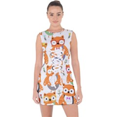 Cute Colorful Owl Cartoon Seamless Pattern Lace Up Front Bodycon Dress