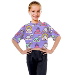 Cloud Seamless Pattern Kids Mock Neck Tee