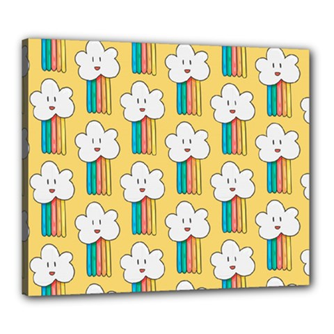 Smile Cloud Rainbow Pattern Yellow Canvas 24  X 20  (stretched)