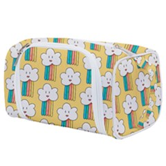 Smile Cloud Rainbow Pattern Yellow Toiletries Pouch by Vaneshart