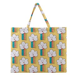 Smile Cloud Rainbow Pattern Yellow Zipper Large Tote Bag