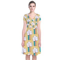 Smile Cloud Rainbow Pattern Yellow Short Sleeve Front Wrap Dress