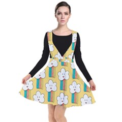 Smile Cloud Rainbow Pattern Yellow Plunge Pinafore Dress