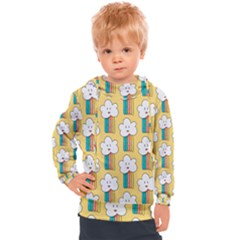 Smile Cloud Rainbow Pattern Yellow Kids  Hooded Pullover