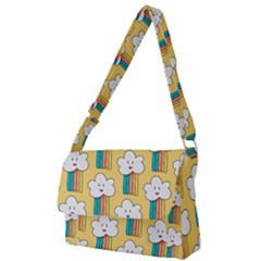 Smile Cloud Rainbow Pattern Yellow Full Print Messenger Bag (s) by Vaneshart
