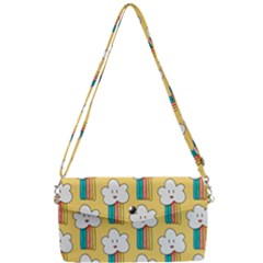 Smile Cloud Rainbow Pattern Yellow Removable Strap Clutch Bag