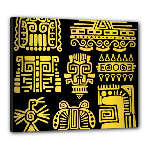American Golden Ancient Totems Canvas 24  X 20  (stretched)