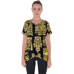 American Golden Ancient Totems Cut Out Side Drop Tee