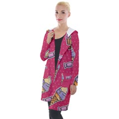 Seamless Pattern Patches With Ice Cream Hooded Pocket Cardigan