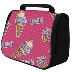 Seamless Pattern Patches With Ice Cream Full Print Travel Pouch (big)