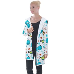 Birds Pattern Design Longline Hooded Cardigan