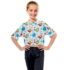 Birds Pattern Design Kids Mock Neck Tee